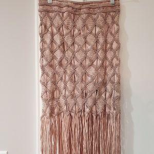 Blush Pink Woven Coachella Fringe Skirt